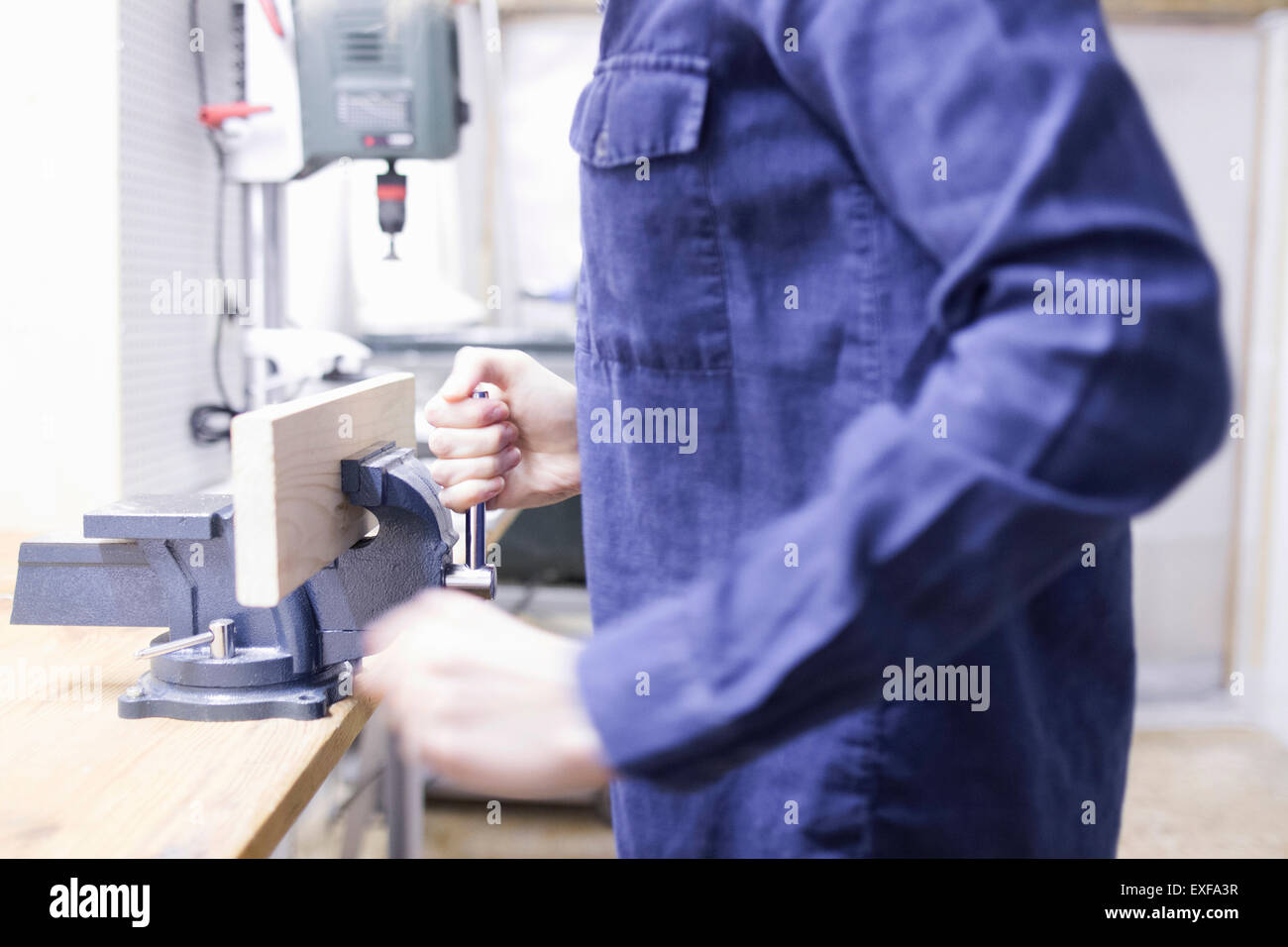 Cropped shot of young female carpenter putting timber in workshop vice - Stock Image