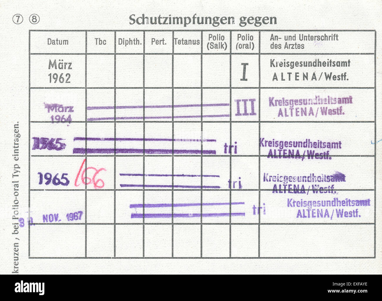 Vaccination record card, Germany, 1960, Europe Stock Photo