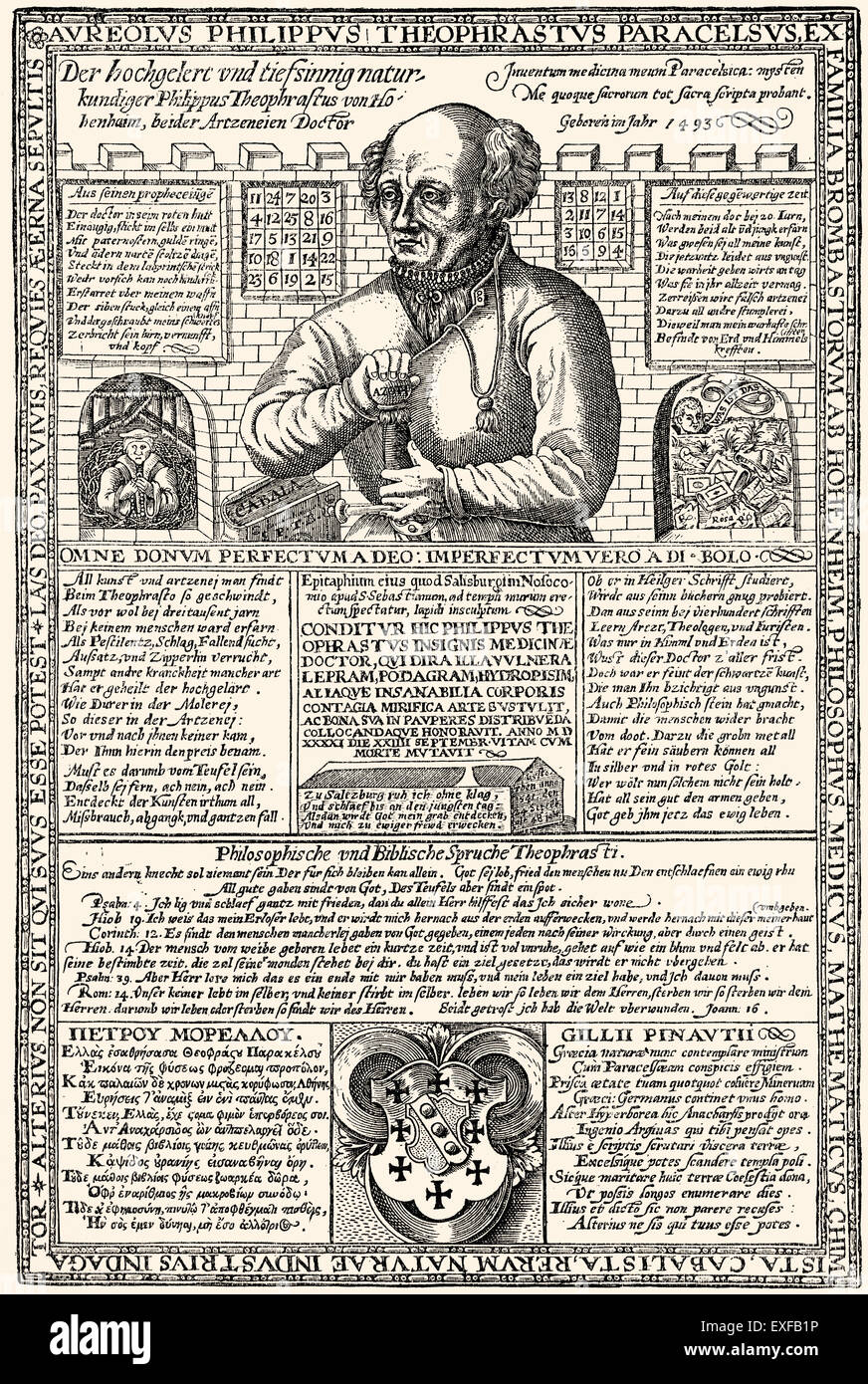 German leaflet, Paracelsus, 1493 - 1541, a Swiss physician, alchemist, astrologer, mystic, philosopher and lay theologian - Stock Image