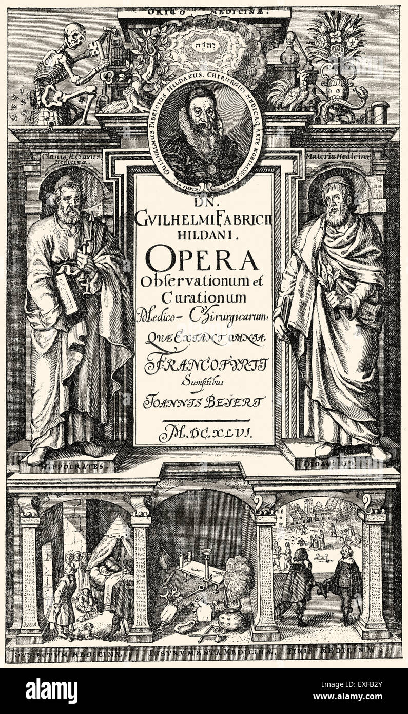 Titlepage of the medical book: Observationum et Curationum Chirurgicarum Centuriae, by Wilhelm Fabry or William - Stock Image