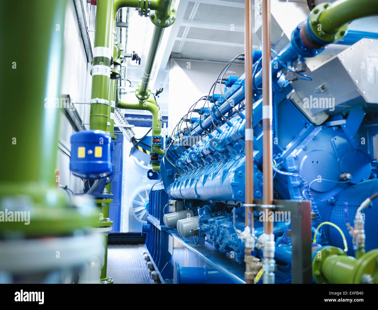 Gas fired generator in gas fired power station - Stock Image