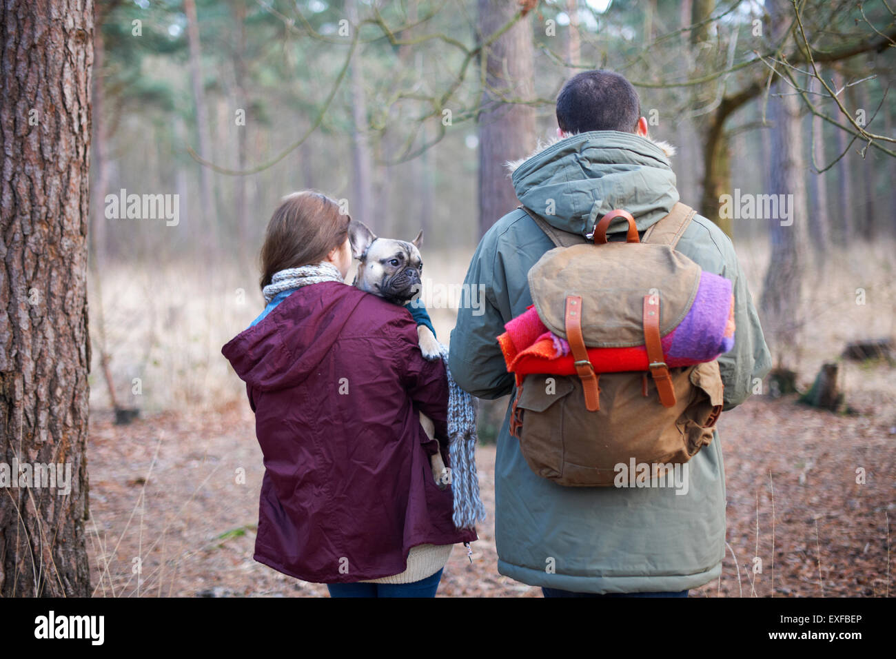 Young couple hiking together in forest - Stock Image