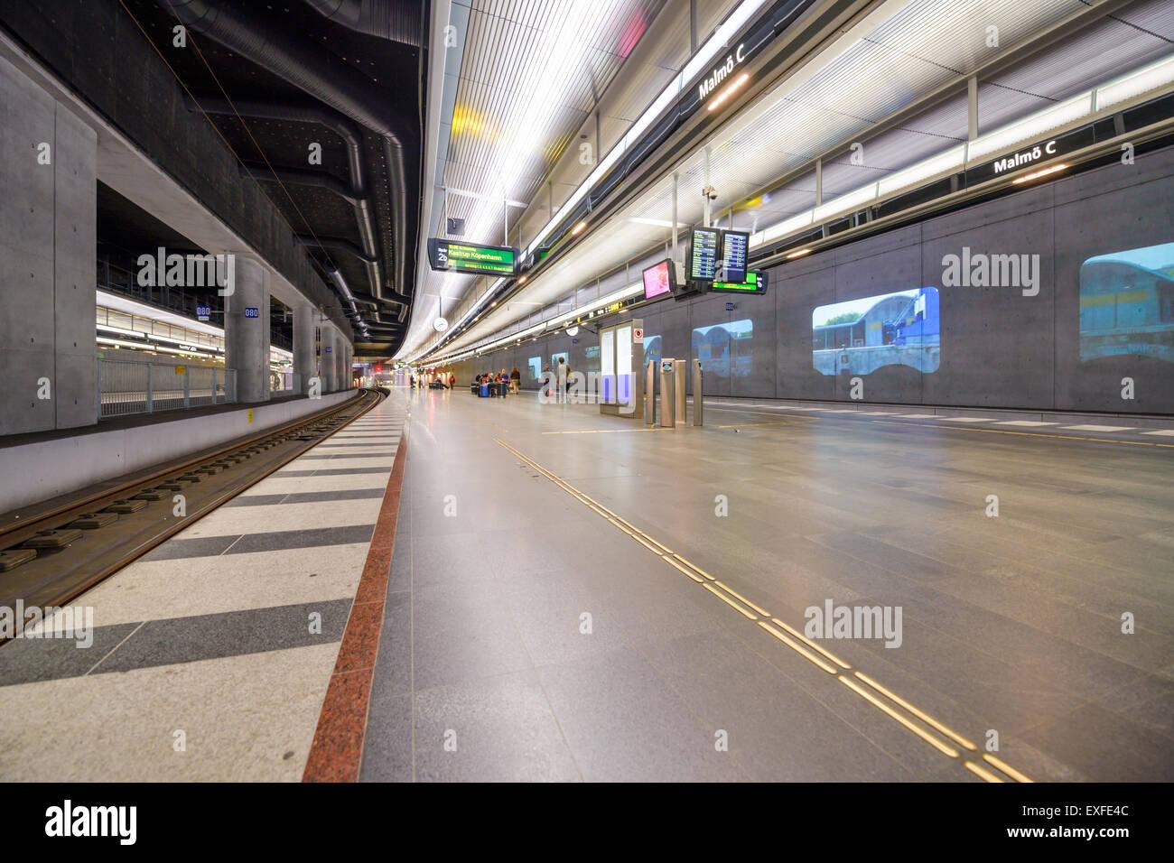 MALMO, SWEDEN - SEPTEMBER 14, 2013: Malmo Central Station on an Oresund Line platform. - Stock Image