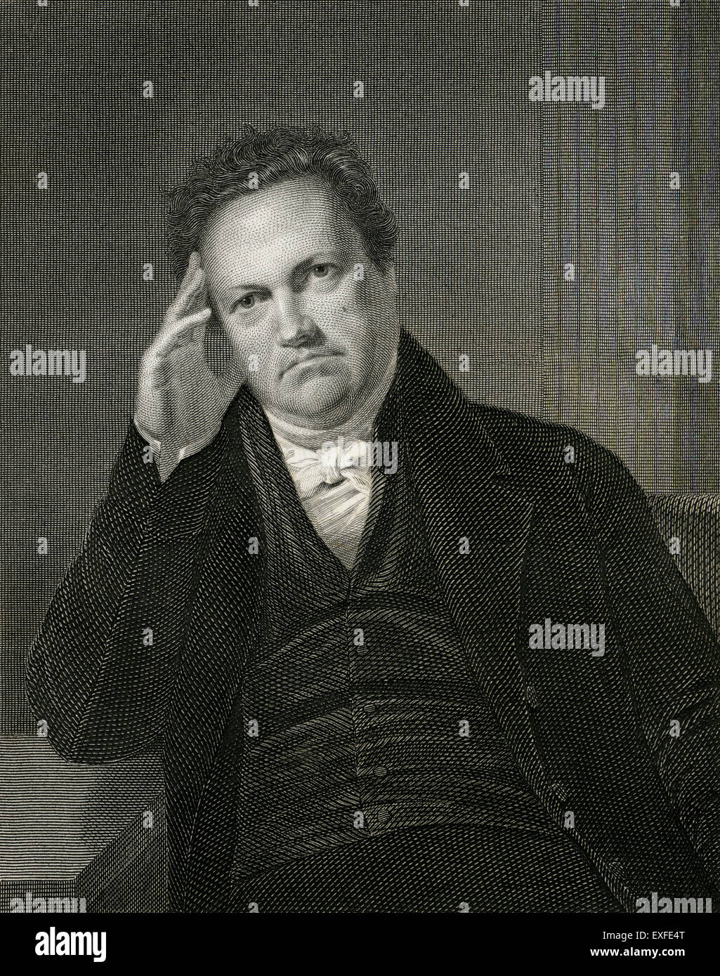Antique c1860 engraving, DeWitt Clinton. DeWitt Clinton (1769-1828) was an early American politician and naturalist - Stock Image