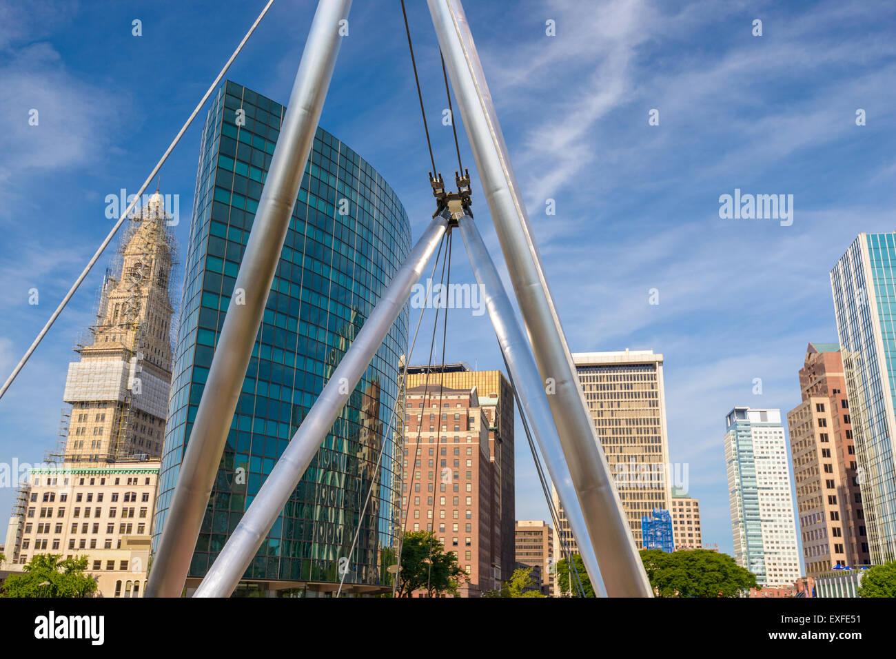 Hartford, Connecticut, USA cityscape at Founders Bridge. - Stock Image