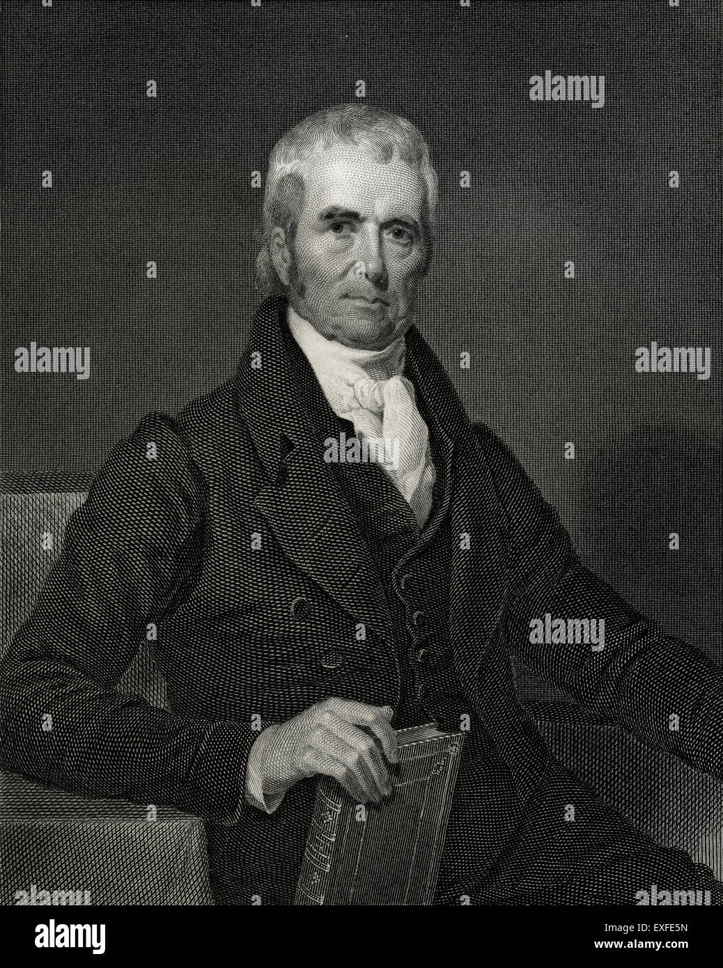 Antique c1860 engraving, John Marshall LL.D. John Marshall (1755-1835) was the fourth Chief Justice of the Supreme - Stock Image