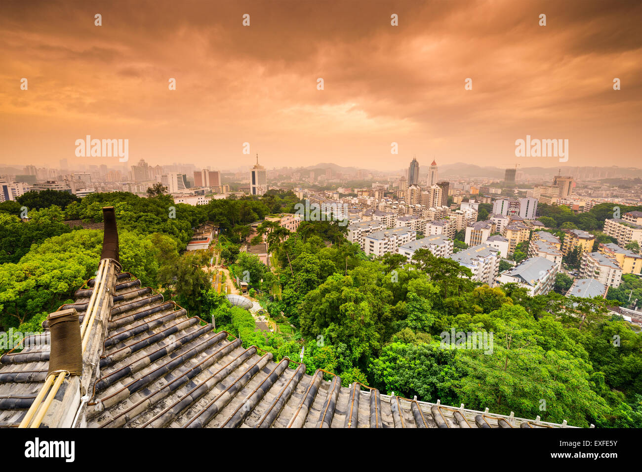 Fuzhou, Fujian, China downtown cityscape from Zhenai Tower. - Stock Image