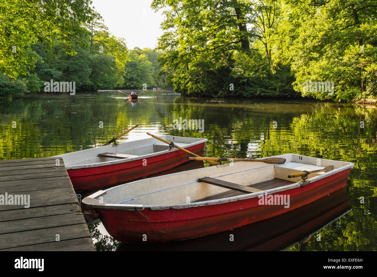 Rowing boats for rent  in summer at Cafe am Neuen See in Tiergarten park in Berlin Germany - Stock Image