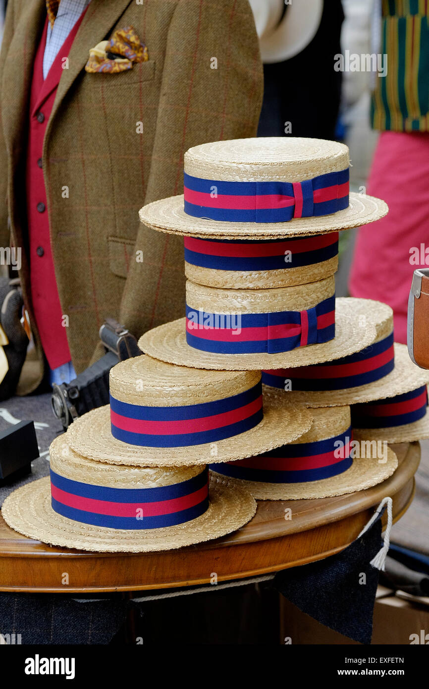 Boaters hats; on display at the Chap Olympiad in Bedford Gardens, London. - Stock Image