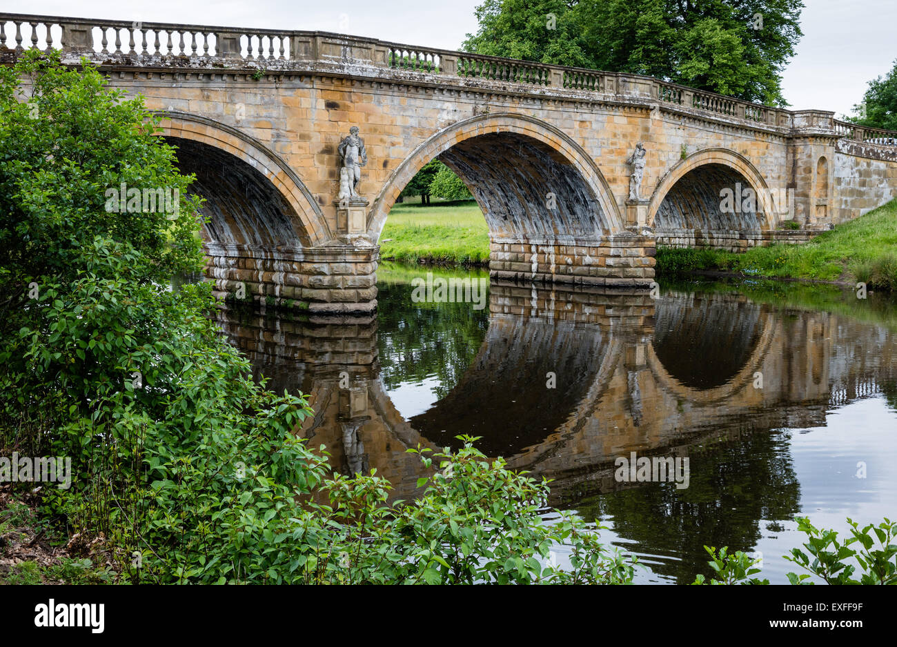 Bridge over the river Derwent at Chatsworth House in the Derbyshire Peak District UK - Stock Image