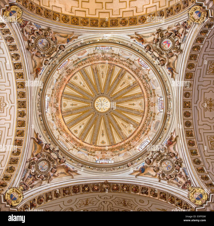GRANADA, SPAIN - MAY 29, 2015: The cupola in church Iglesia de los santos Justo y Pastor. Stock Photo