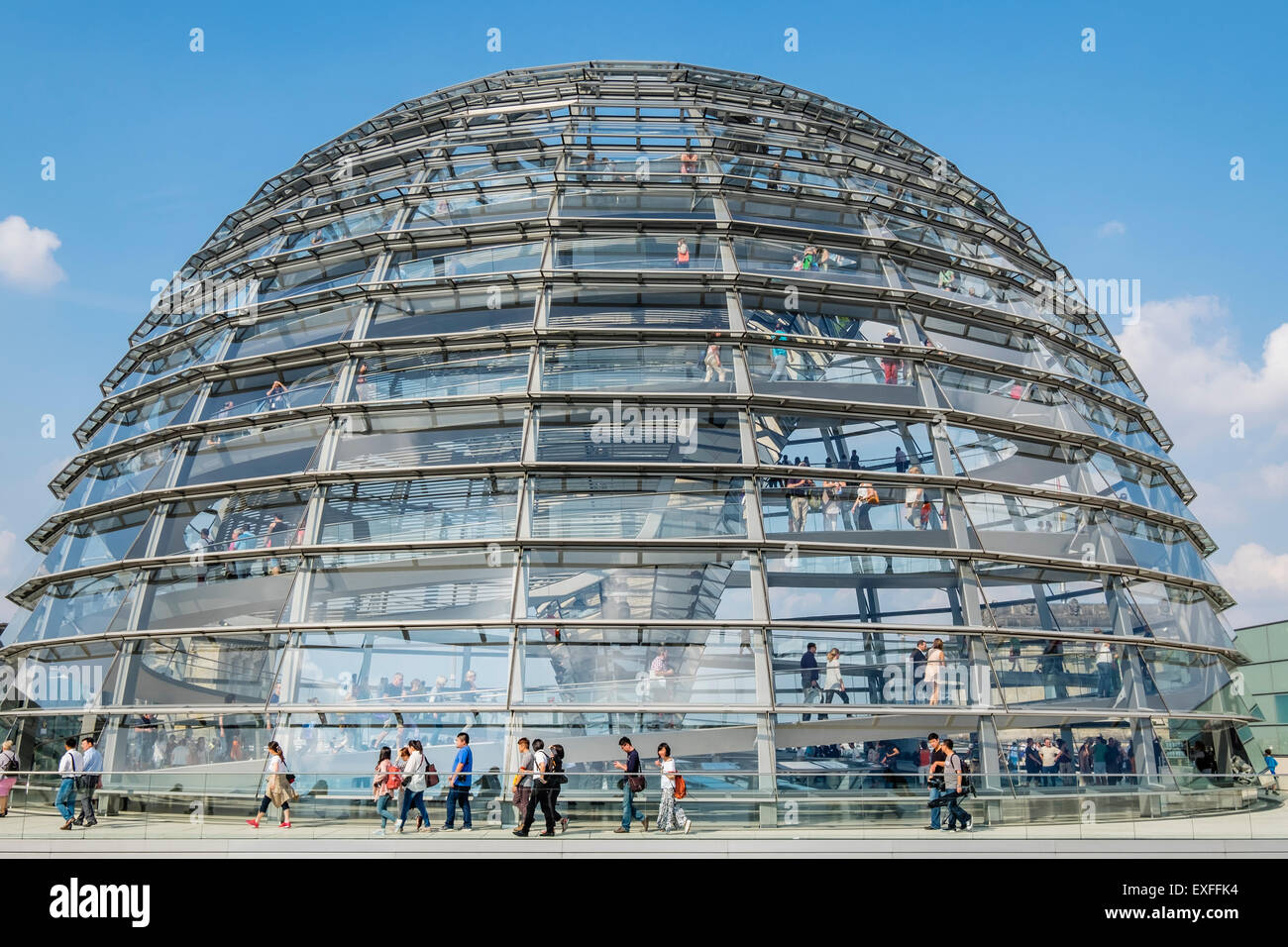The glass dome above the Reichstag parliament building in Berlin Germany - Stock Image