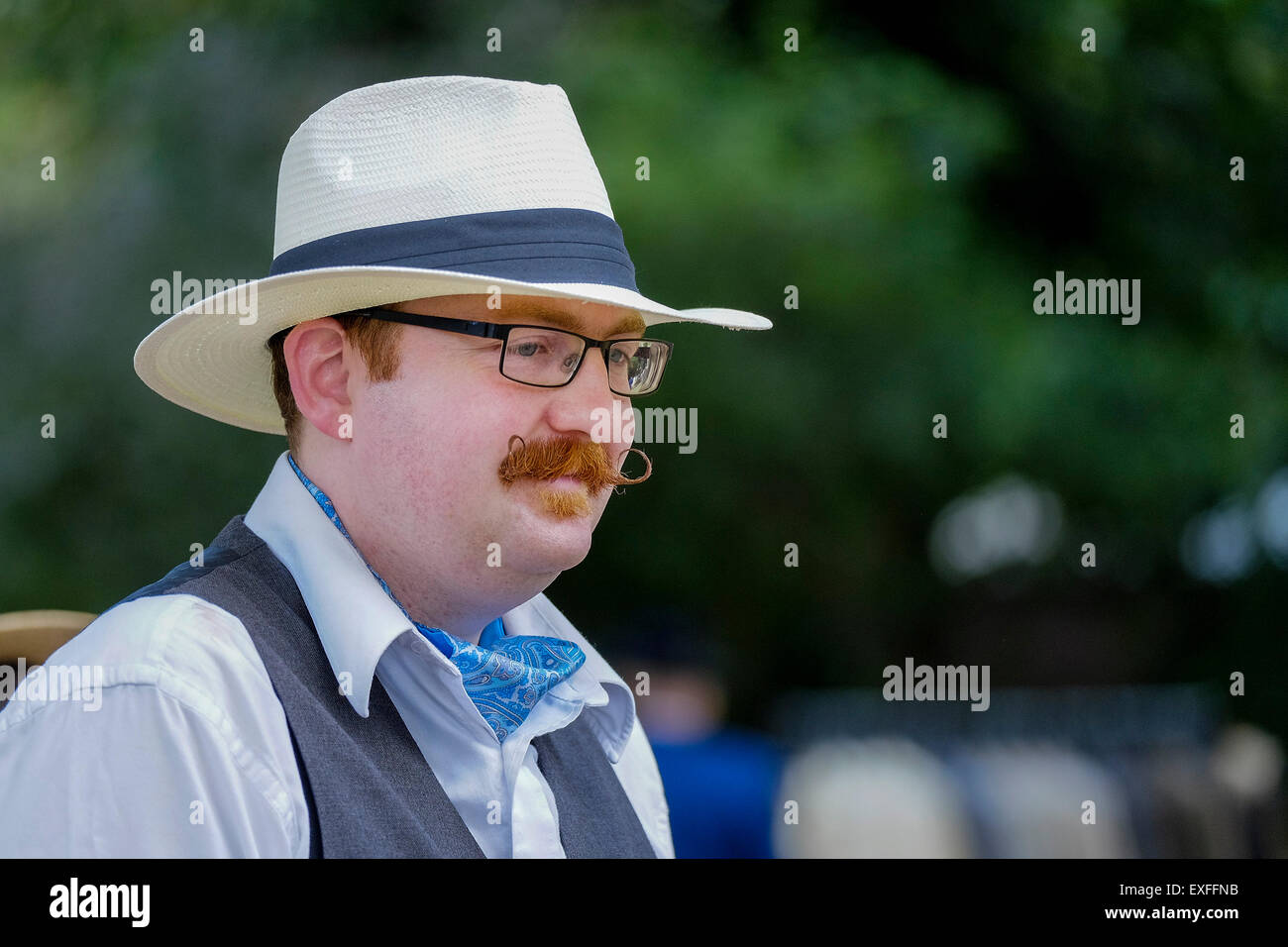 A chap at The Chap Olympiad in Bloomsbury, London. - Stock Image