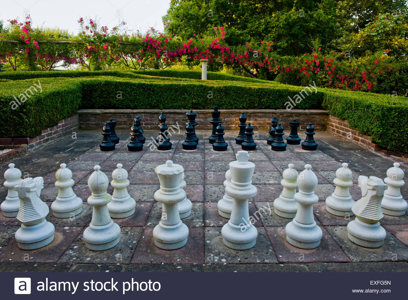 garden chess set game - Stock Image