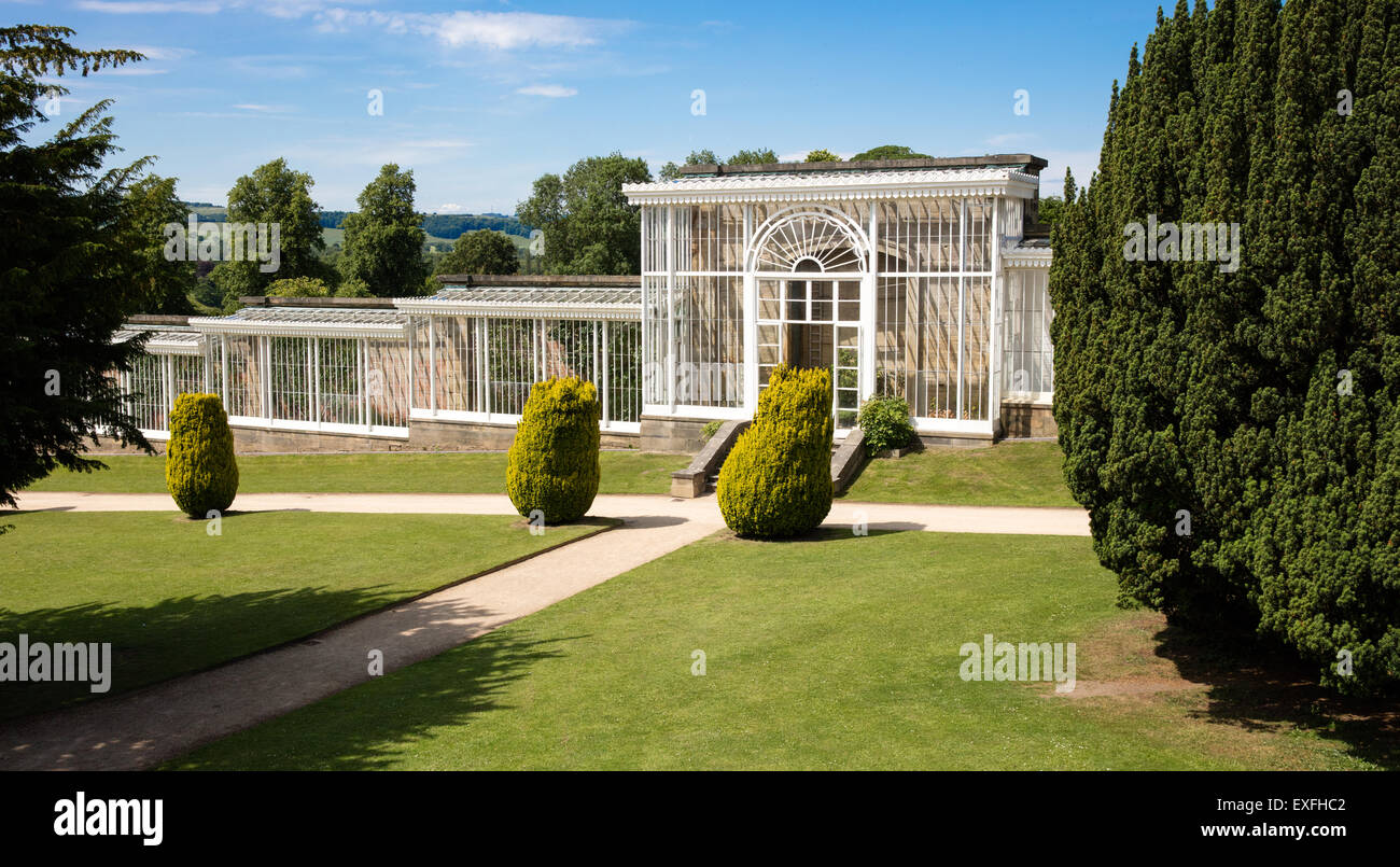 The orangery of Chatsworth Gardens in the Derbyshire Peak District - Stock Image