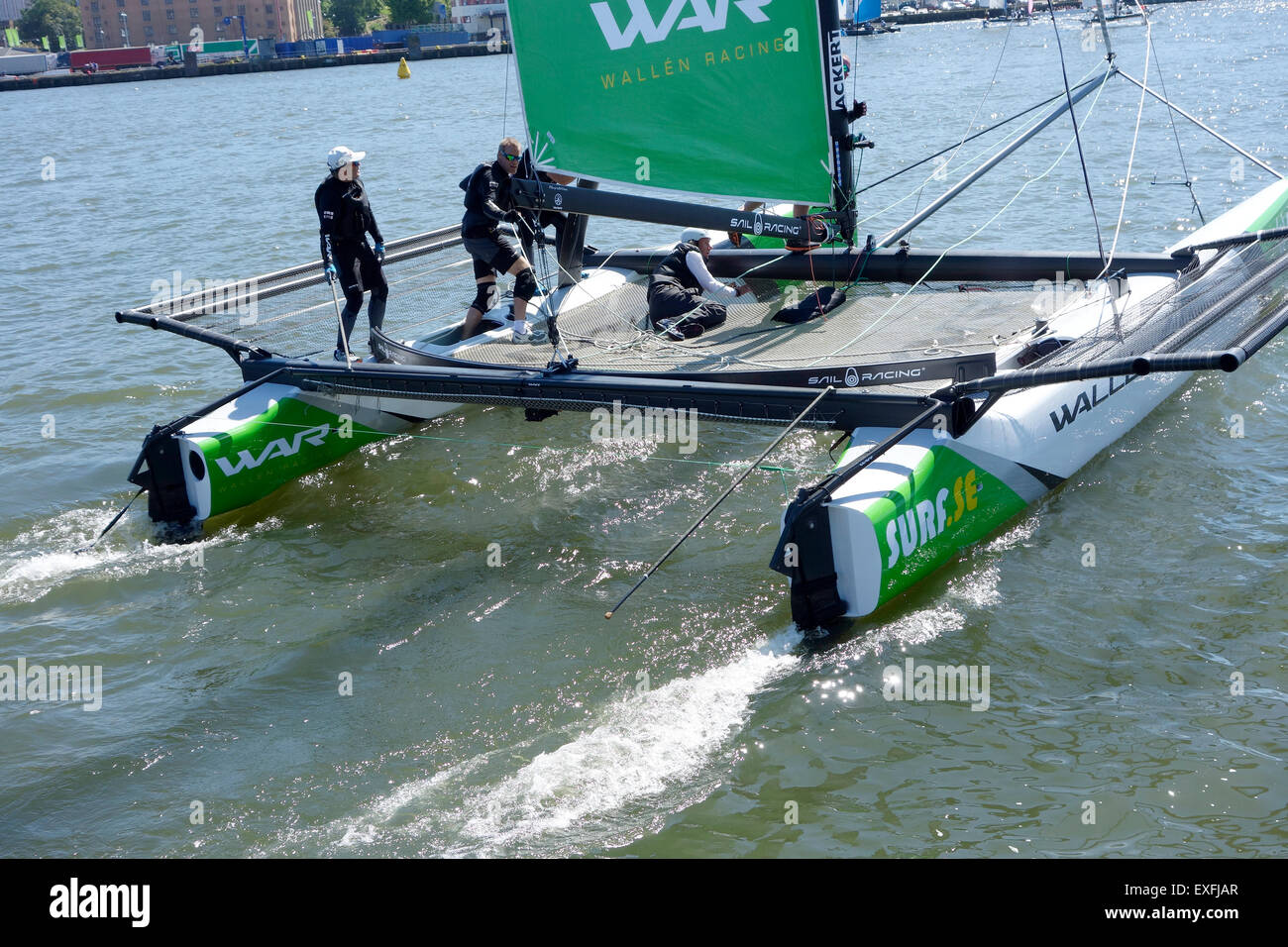 Catamaran m32 Series speeds up on the sailing race course in  Gothenburg 2015-06-12. Sweden - Stock Image