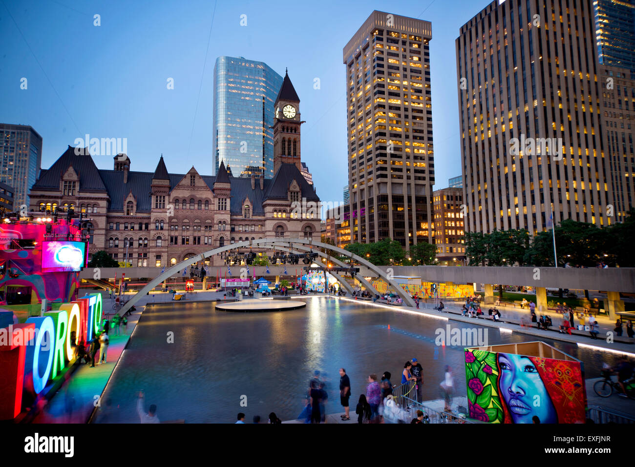 TORONTO,CANADA-JULY 9,2015: The new Toronto sign in Nathan Phillips Square, host of PanaMania, a contant party celebrating - Stock Image