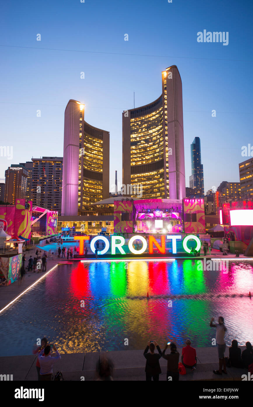 TORONTO,CANADA-JULY 9,2015: The new Toronto sign in Nathan Phillips Square celebrating the PanAm games, the New - Stock Image