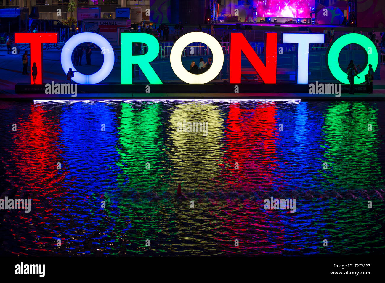 TORONTO,CANADA-JULY 9,2015: The new Toronto sign in Nathan Phillips Square celebrating the PanAm games, a stage - Stock Image