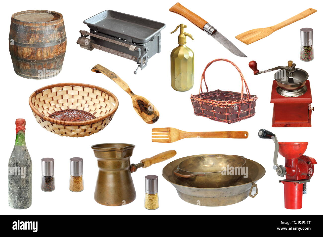 collection of vintage kitchen objects isolated over white background Stock Photo