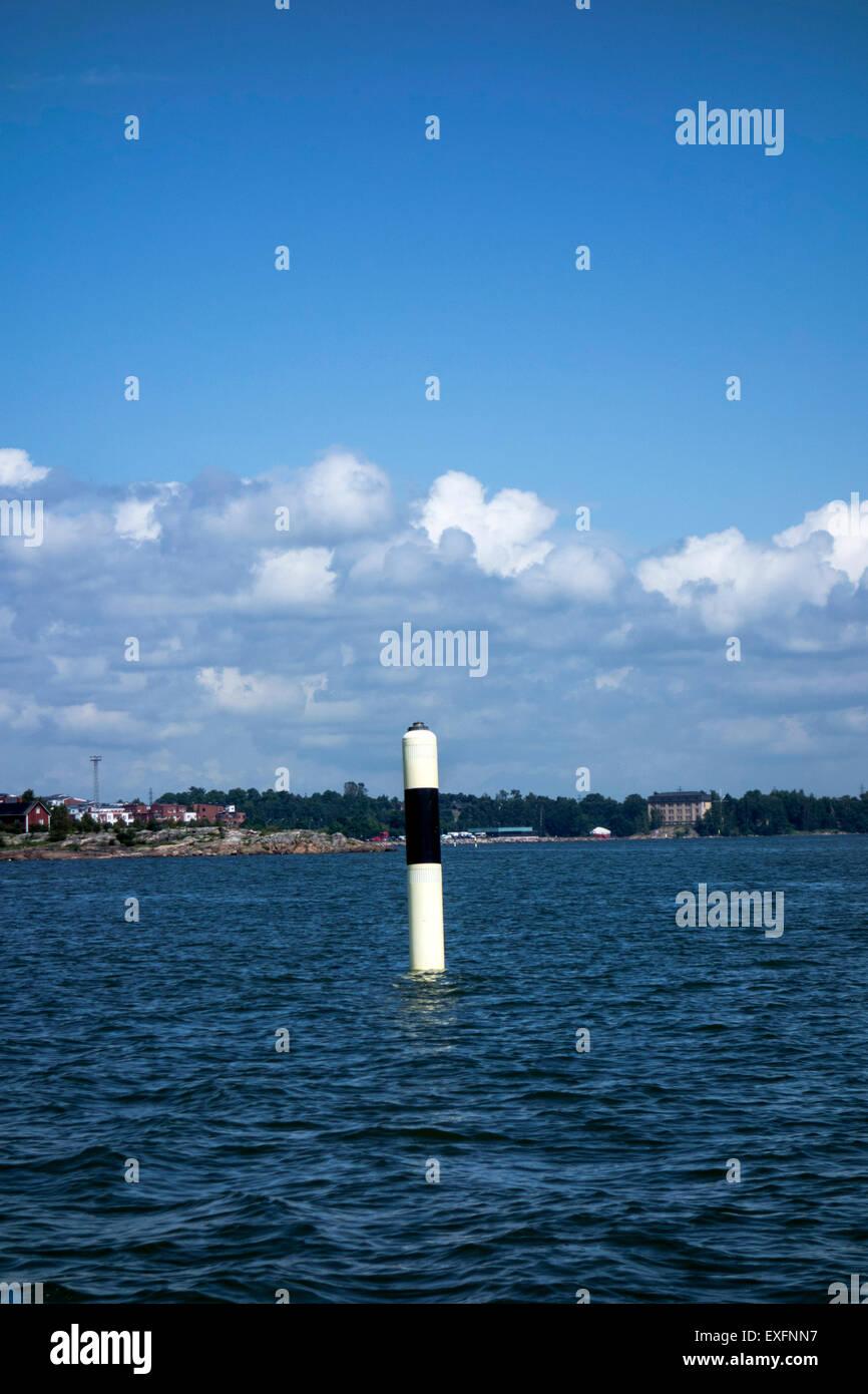 Signal buoy indicating fairway, Baltic Sea - Stock Image