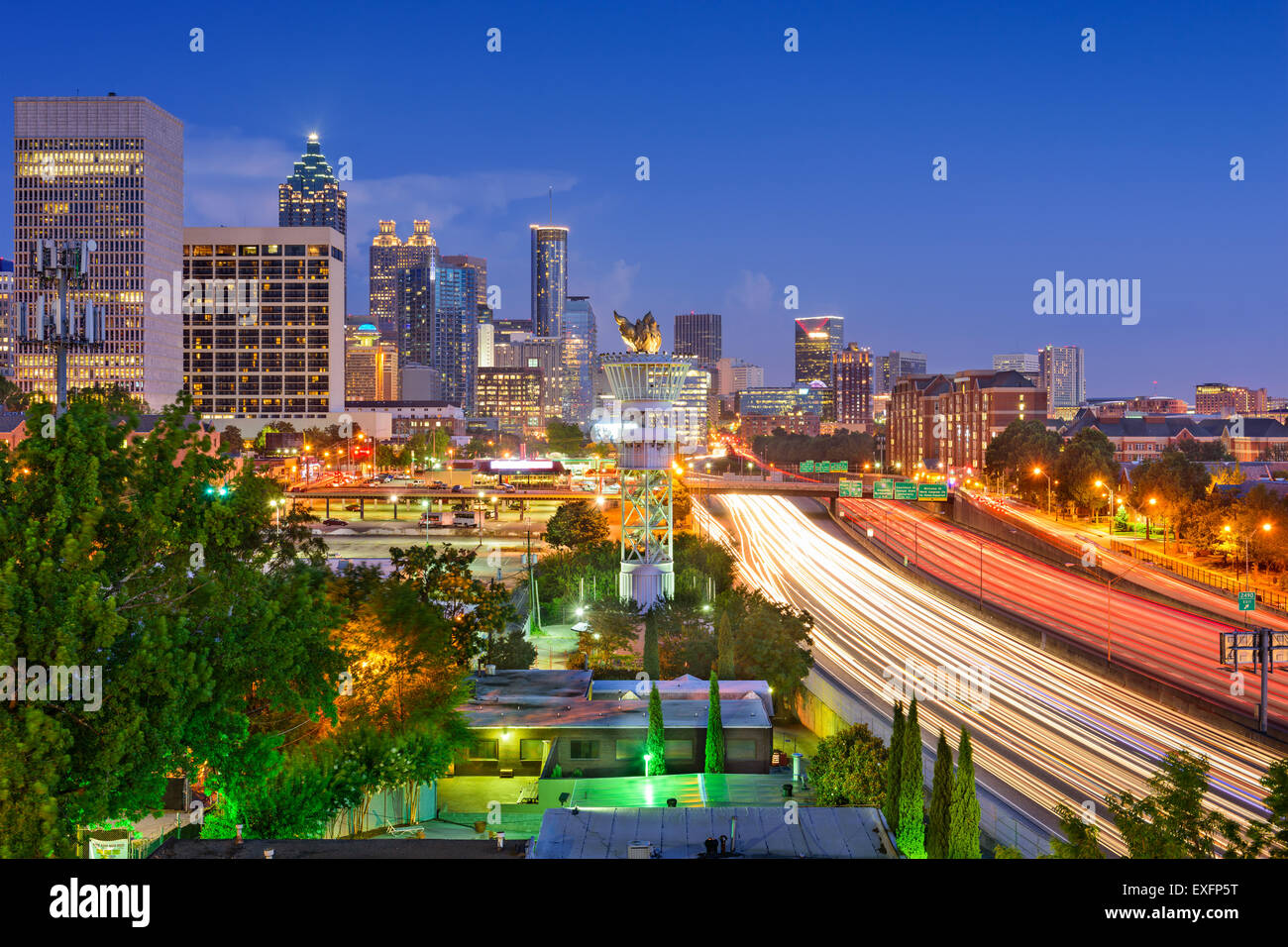 Atlanta, Georgia, USA downtown skyline over Interstate 85. - Stock Image