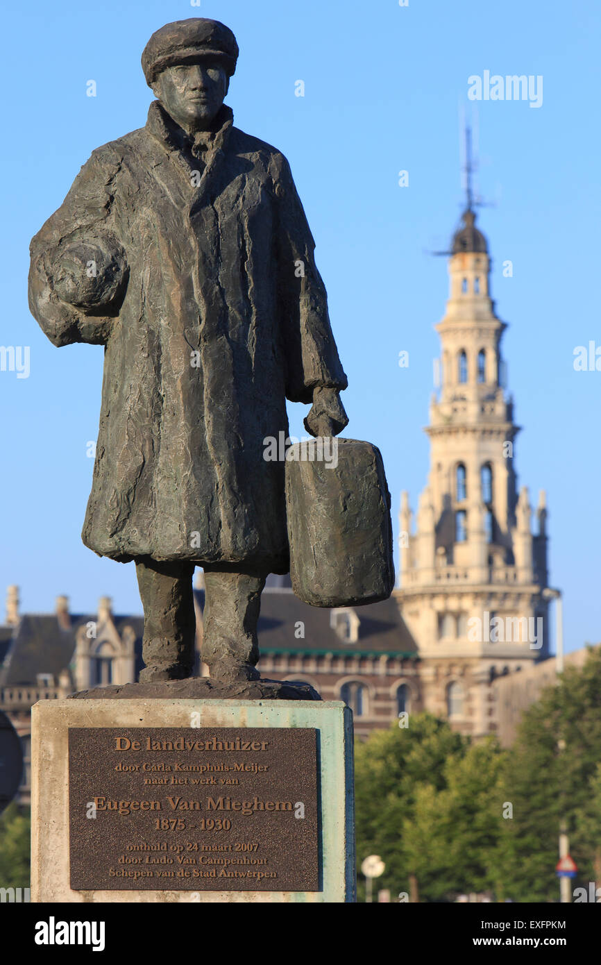 The Emigrant monument near the Red Star Line Museum in Antwerp, Belgium - Stock Image