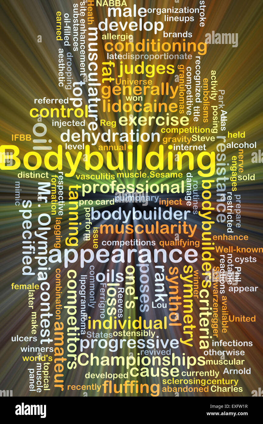 Background concept wordcloud illustration of bodybuilding glowing light - Stock Image