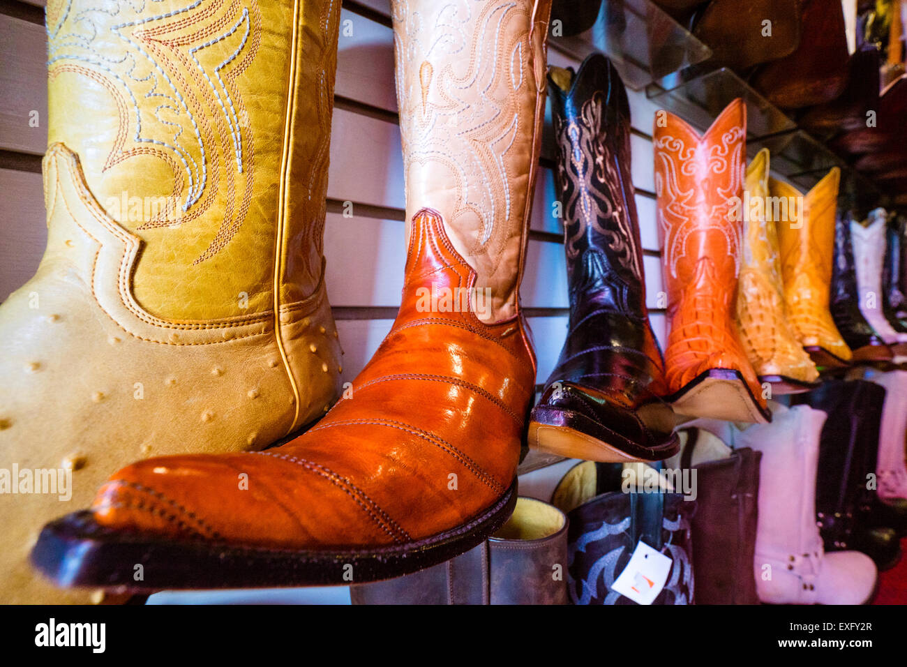 Mexican pointy boots, cowboy boots with elongated toes, on display at a store in Oaxaca Mexico - Stock Image