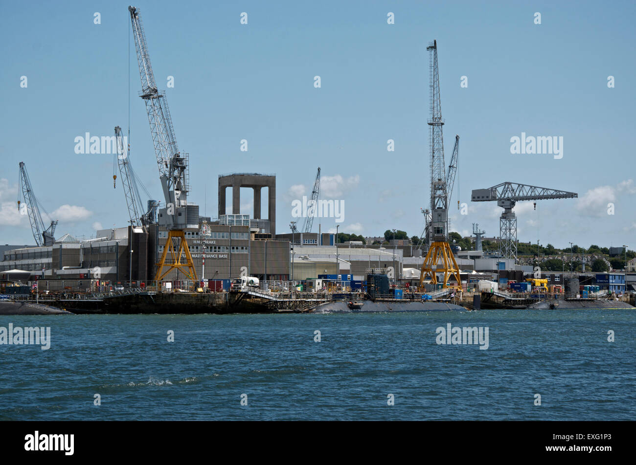 HMNB Devonport Royal Navy maintenance depot at HMS Drake, Plymouth, UK - Stock Image