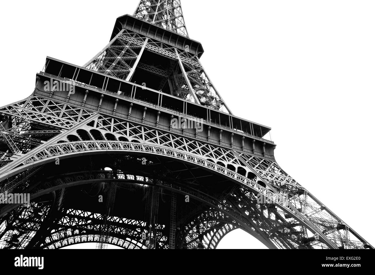 Eiffel tower in black and white captured from the ground level - Stock Image