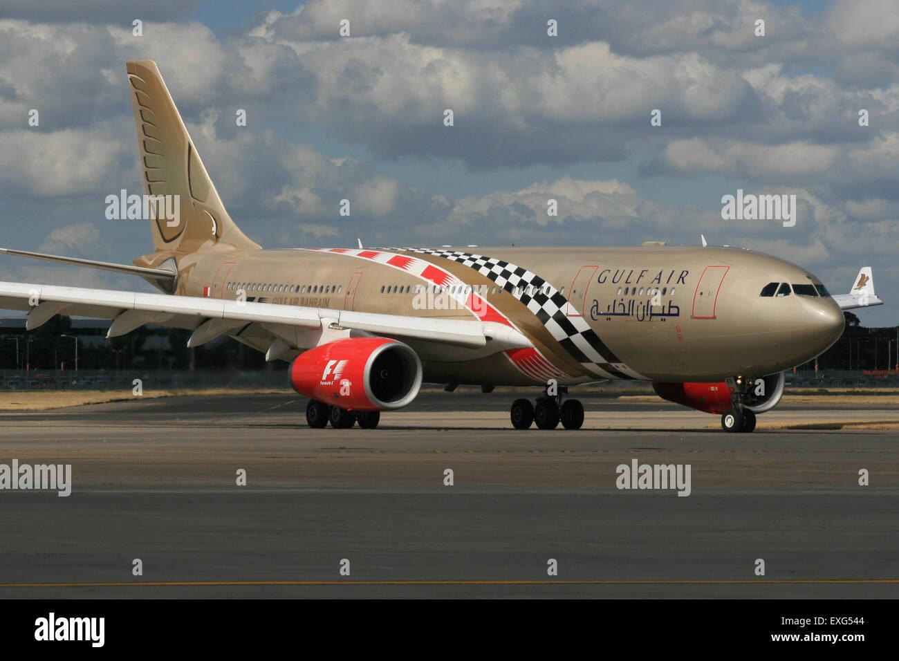 GULF AIR A330 GRAND PRIX FORMULA ONE COLOURS - Stock Image