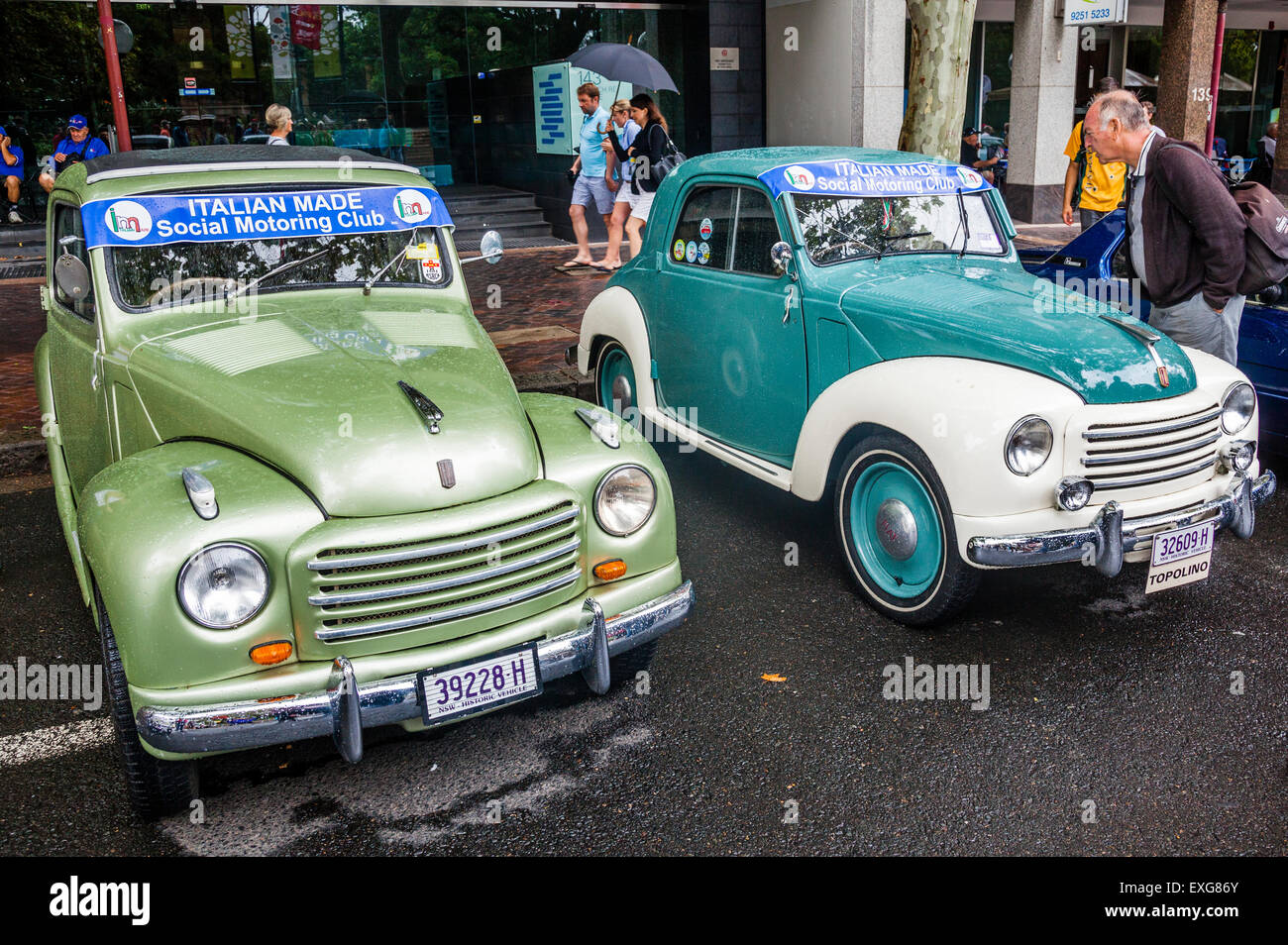 Australia, New South Wales, Sydney, 1954 and 1949 Fiat 500C Topolino Coupe, exhibited in Macquarie Street during - Stock Image