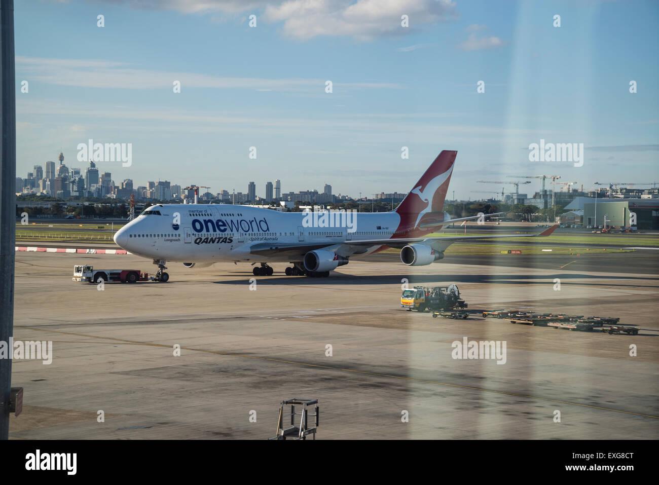 Sydney airport, Qantas one world aircraft, Australia Stock Photo