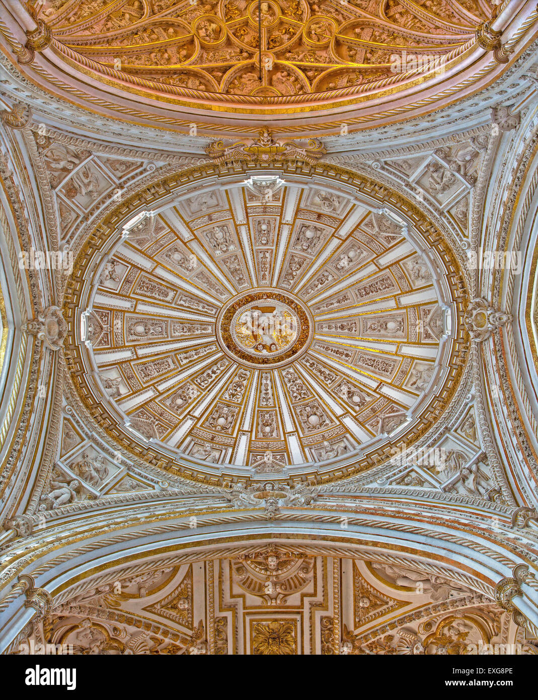 CORDOBA, SPAIN - MAY 28, 2015: Cupola of The Main chapel with the gothic and baroque vault. - Stock Image