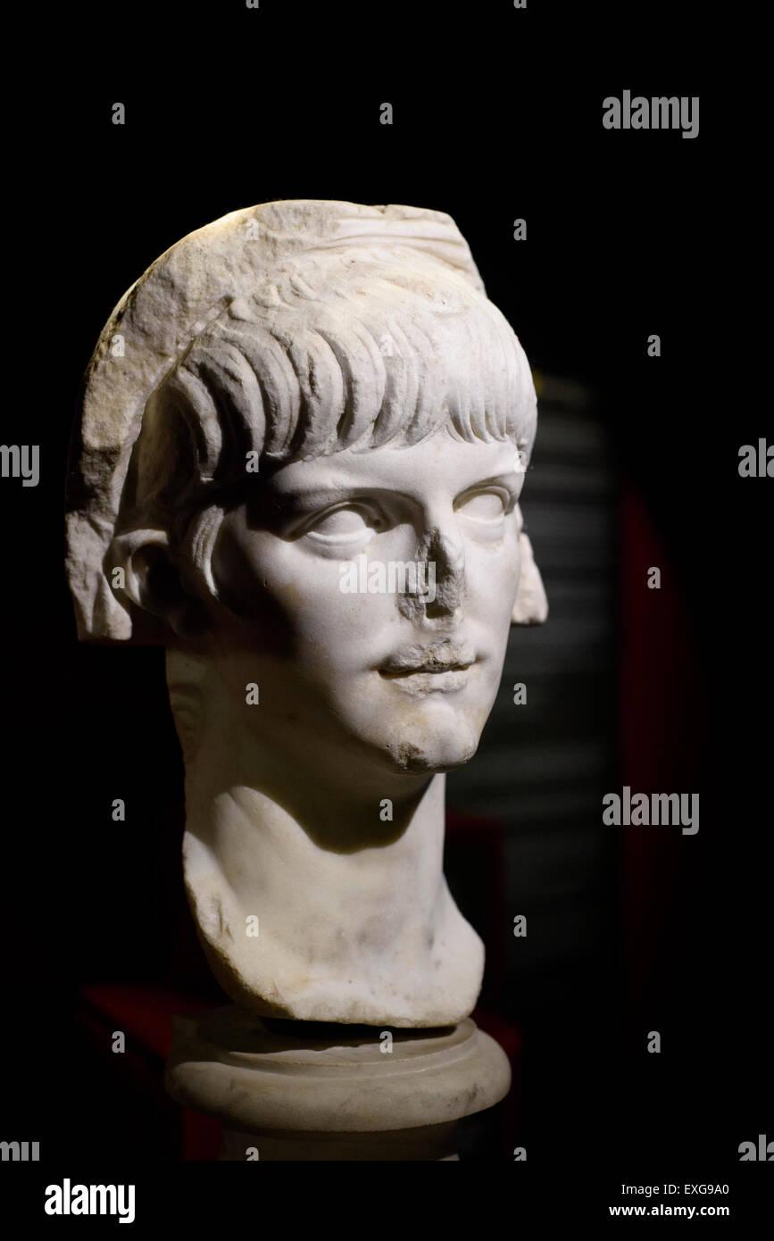 Rome. Italy. Portrait of Roman Emperor Nero (Between 54 -59 AD) Palazzo Massimo alle Terme, Museo Nazionale Romano. - Stock Image