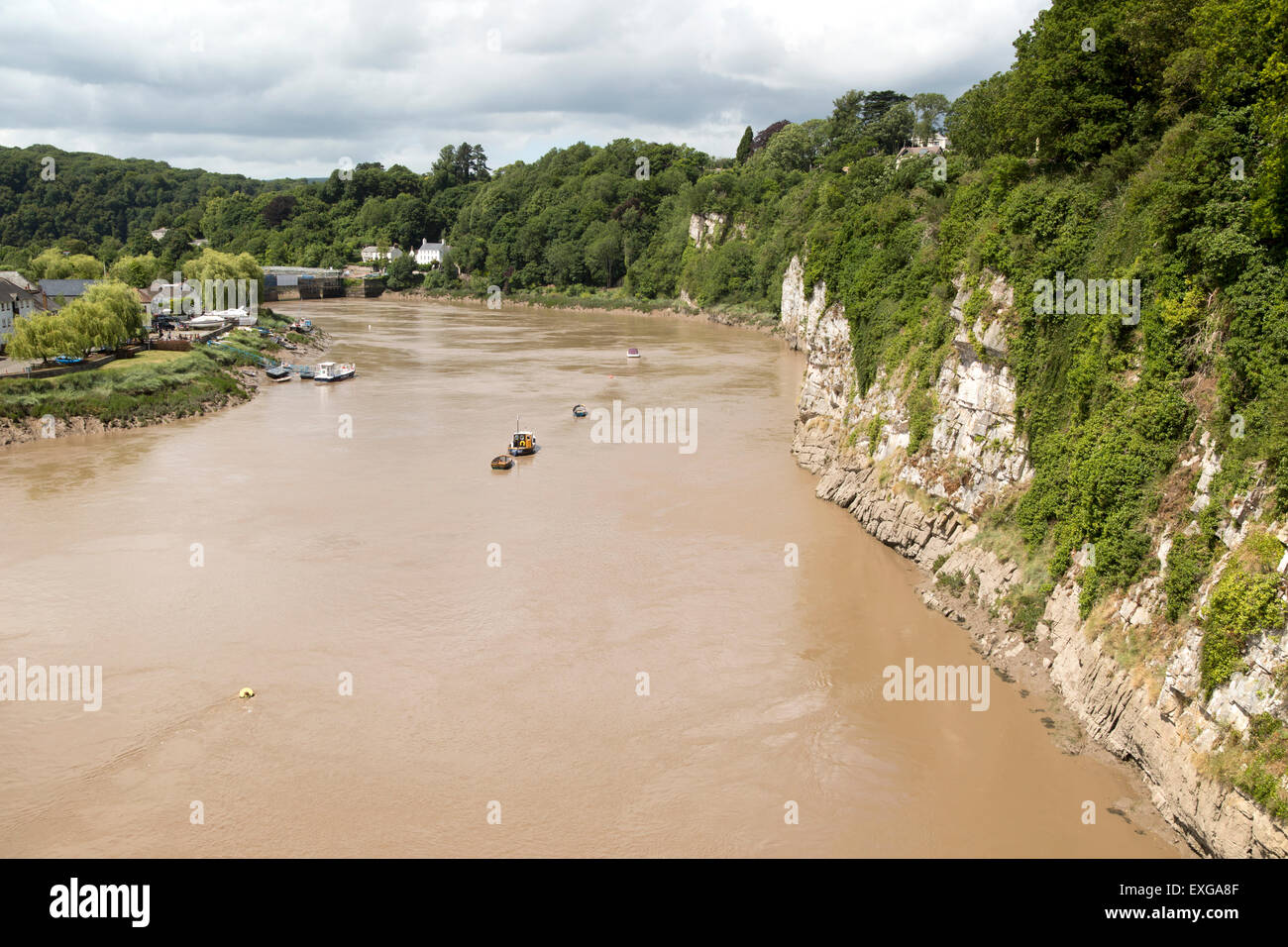 Cliff and meander loop of River Wye at Chepstow, Monmouthshire, Wales, UK - Stock Image
