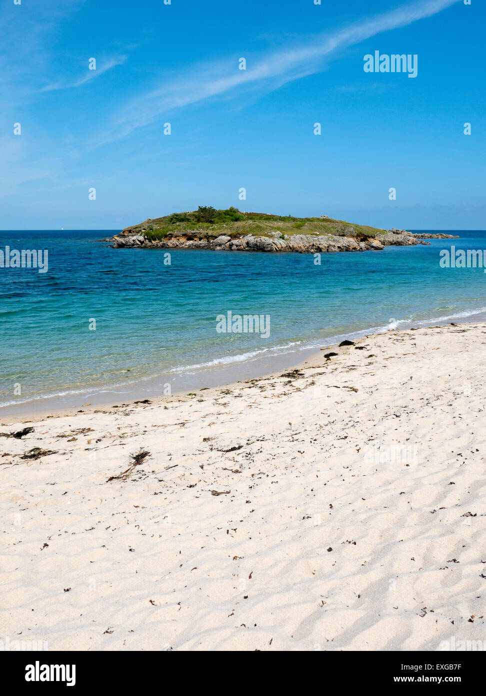 Pelistry Bay beach and Toll's island, St. Mary's, Isles of Scilly, Cornwall England. Stock Photo