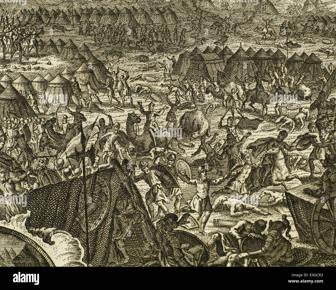 Battle in which Gideon, by God's command, have to liberate the people of Israel from the oppression of Midianites. - Stock Image