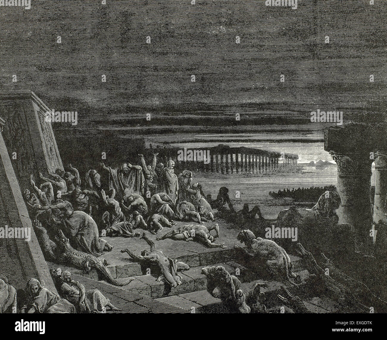 Plague of Darkness. Book of Exodus. Chapter 10, verses 20 to 23. Engraving by Gustave Dore (1832-1883). - Stock Image