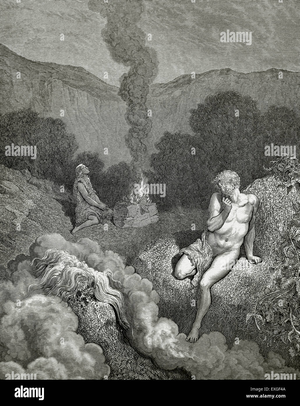 Cain and Abel offering his sacrifice. Engraving by Gustave Dore (1832-1883) in The Bible in Pictures. - Stock Image