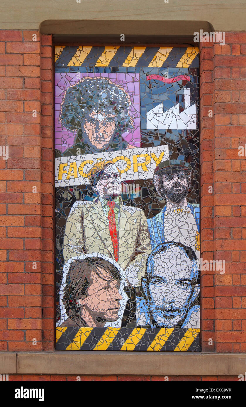 One of 7 mosaics by local artist Mark Kennedy which are on the side of the Afflecks Palace building in Manchester - Stock Image