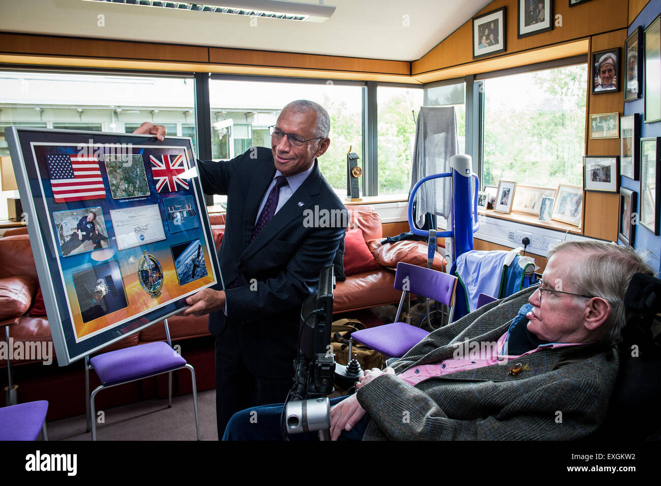 NASA Administrator Charles Bolden met with Professor Stephen Hawking, British theoretical physicist, cosmologist, Stock Photo