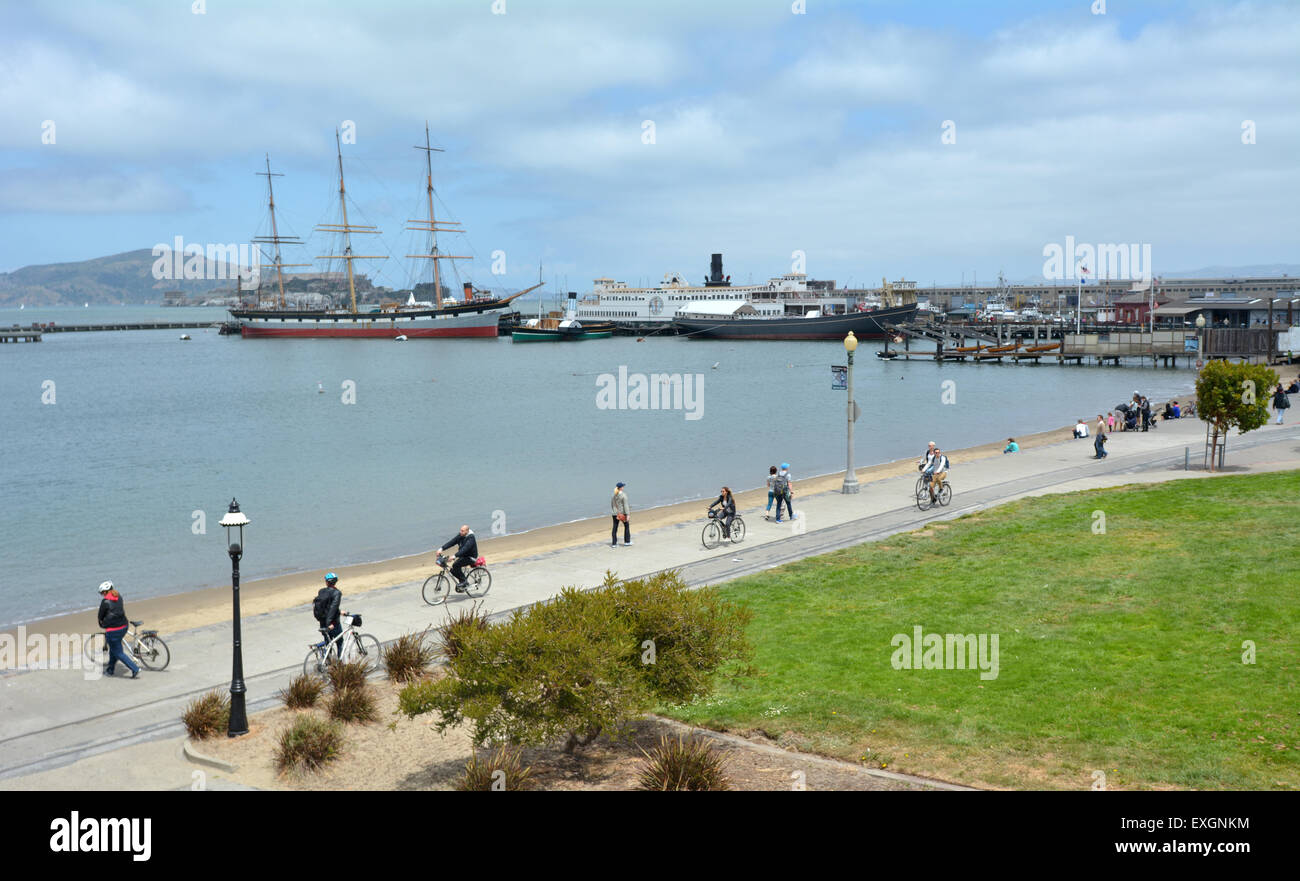 SAN FRANCISCO - MAY 17 2015:Aerial view of Hyde Street Pier in Fisherman's Wharf. The park includes a fleet of historic Stock Photo