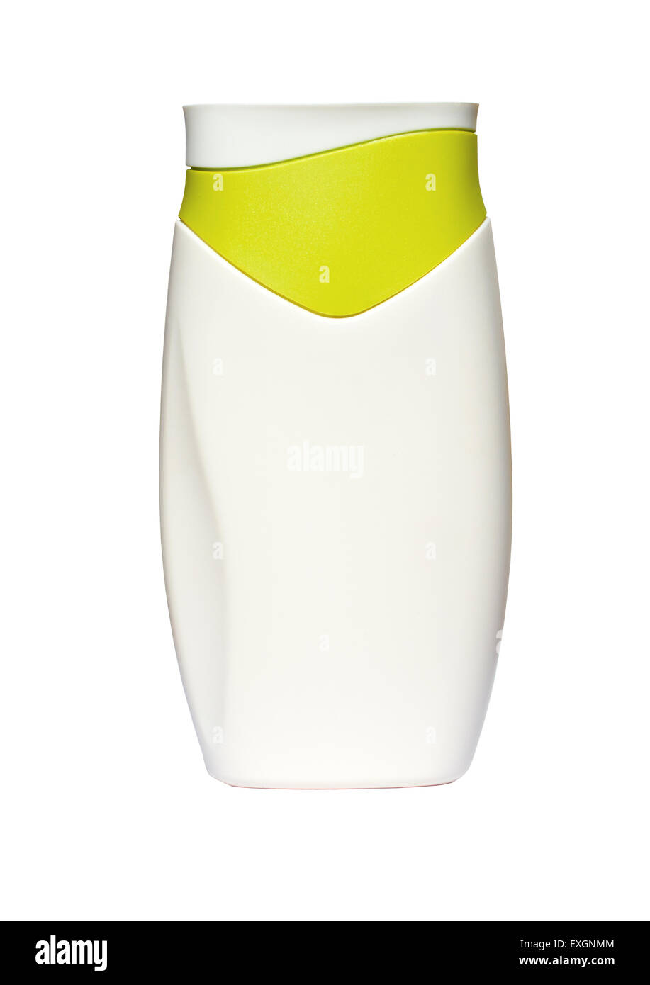 White Bottle with suntan lotion isolated on white background - Stock Image