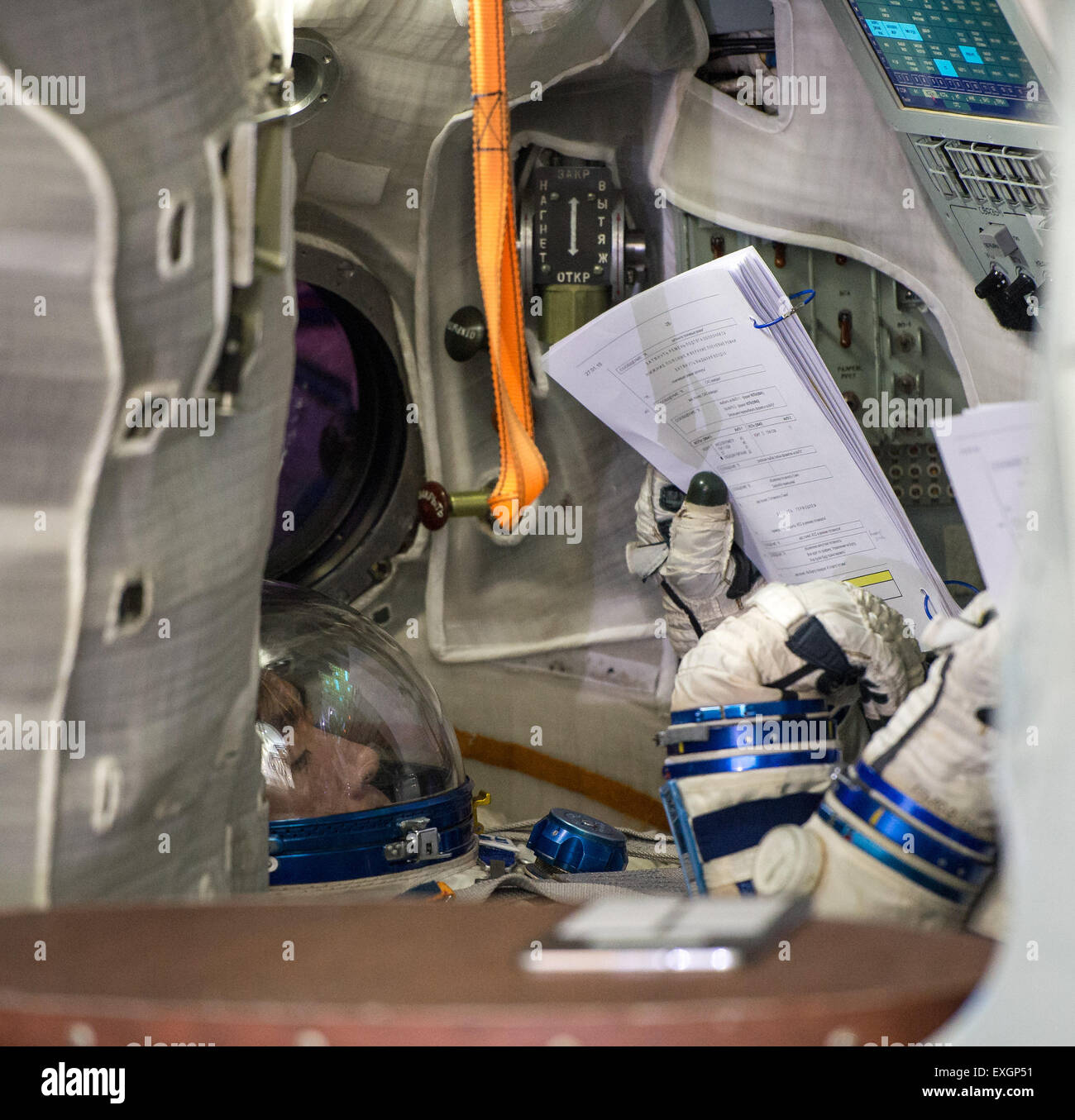 Japan Aerospace Exploration Agency astronaut Kimiya Yui participates in the second day of qualification exams with - Stock Image