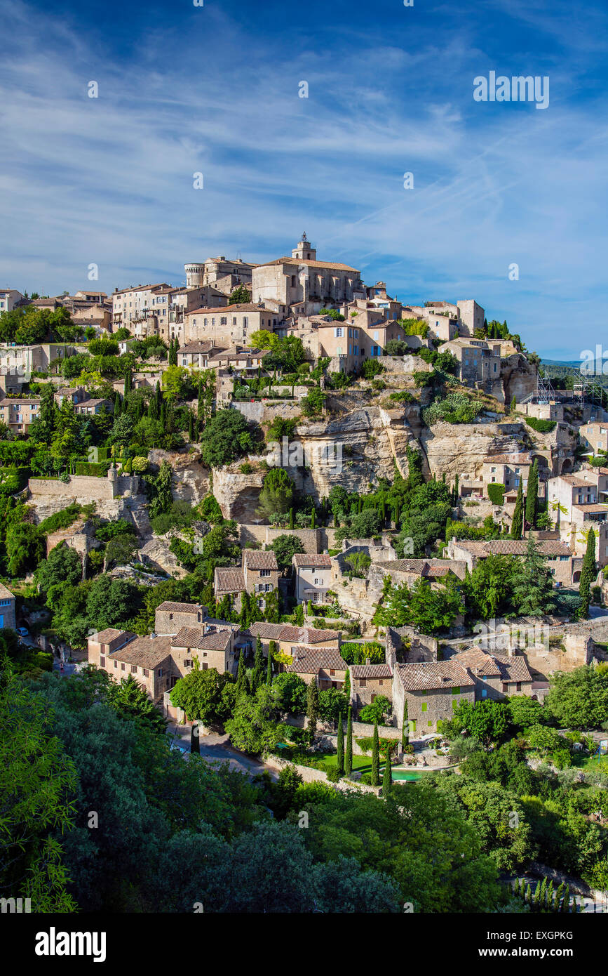 View over the village of Gordes, Vaucluse, Provence, France - Stock Image