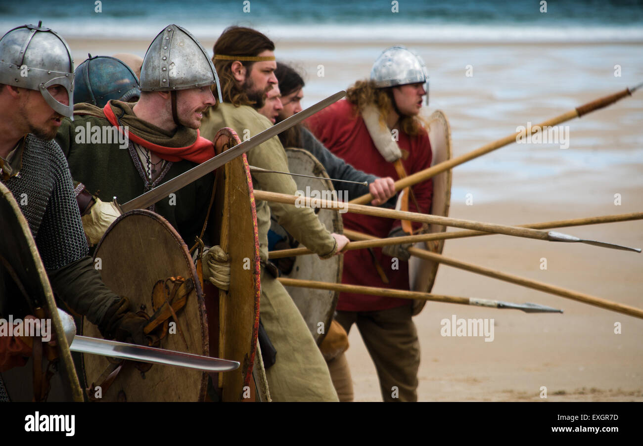 Vikings on the beach at Bamburgh during filming - Stock Image