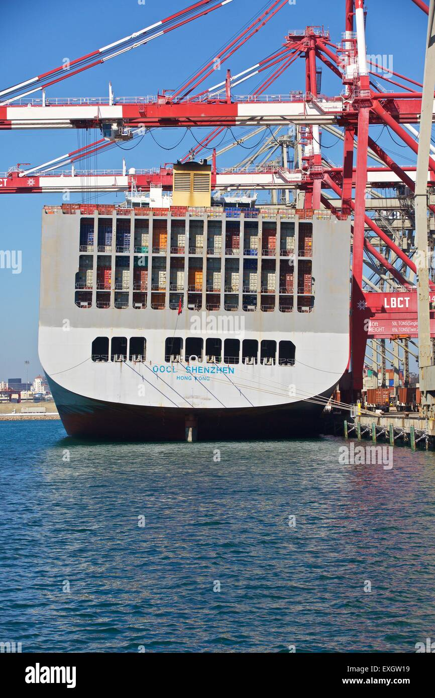 Container Ship, OOCL Shenzhen, Berthed At The Long Beach Container Terminal, Los Angeles, California, USA. - Stock Image