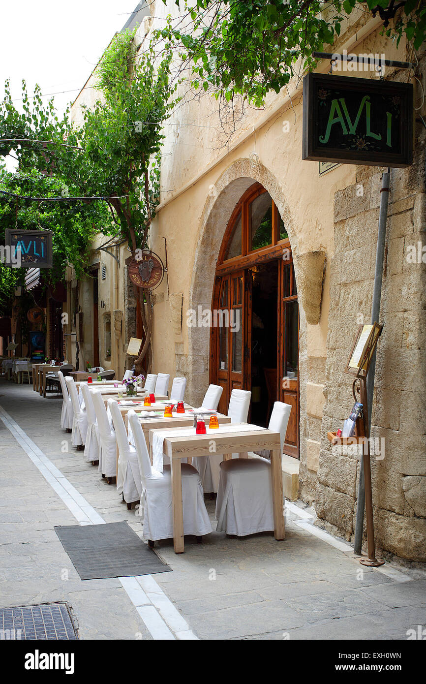 One of the top end Greek restaurants in Rethymnon, the Avli is without doubt a great eating experience for all visitors. Stock Photo